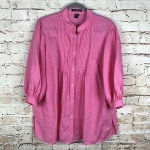 Lauren Ralph Lauren Pink Button Down Blouse 1X